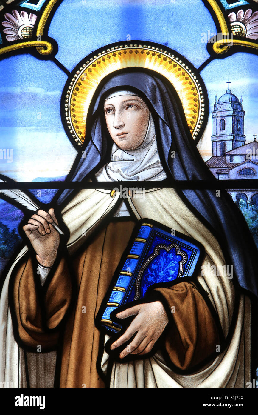 Stained glass window of St. Therese of Lisieux, Shrine of Our Lady of La Salette, La Salette-Fallavaux, Isere, France, Stock Photo