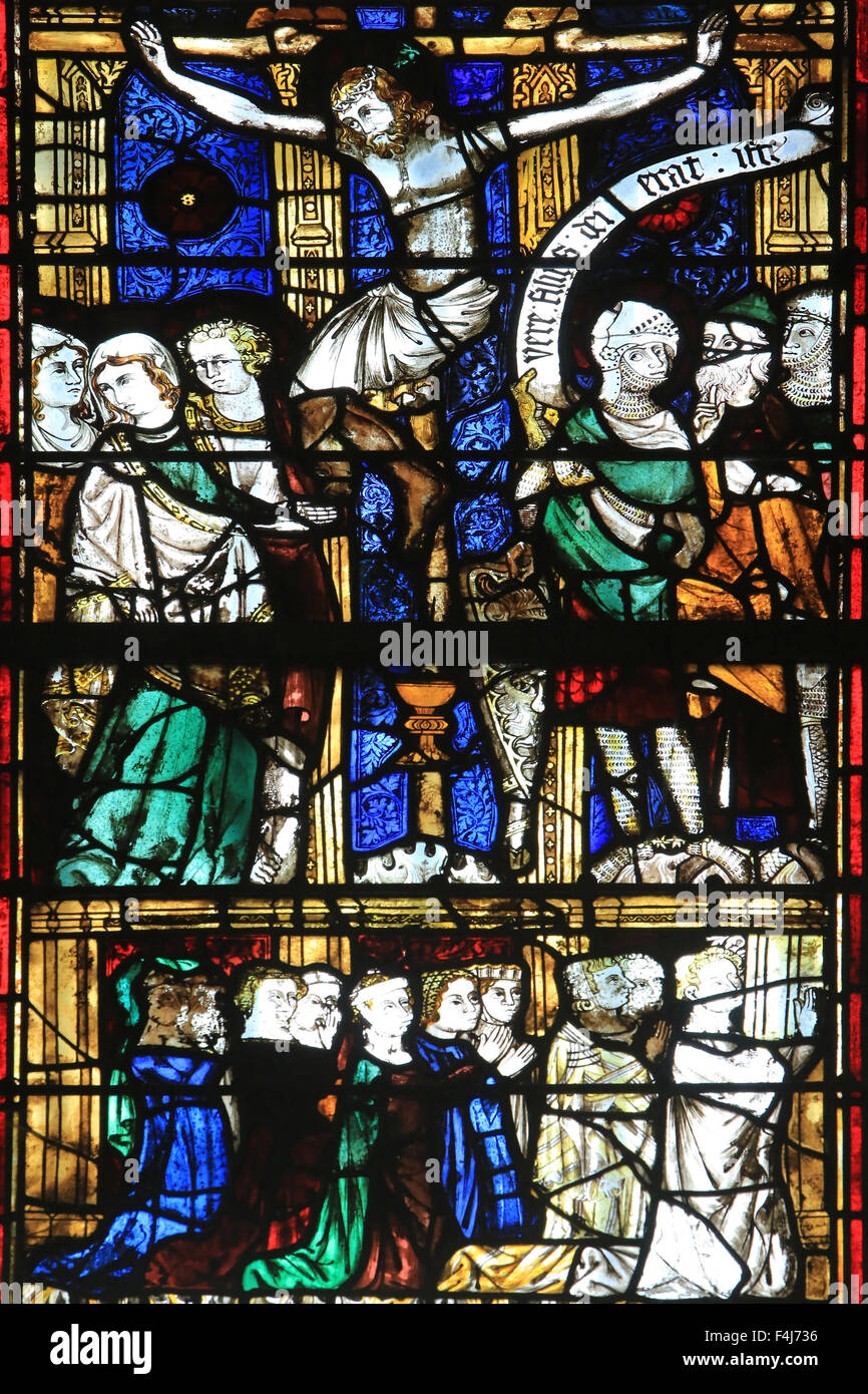 Stained glass, Chapel St. Vincent and Our Lady of Lourdes, Beauvais Cathedral, Picardy, France - Stock Image
