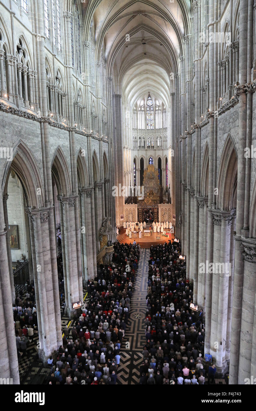 Bishop Olivier Leborgne, Bishop of the Diocese of Amiens, Episcopal ordination, Amiens Cathedral, UNESCO, Picardy, - Stock Image