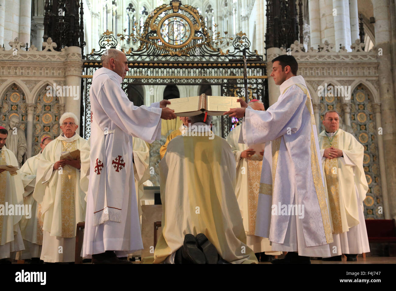 Gospel, Bishop Olivier Leborgne, Bishop of the Diocese of Amiens, Episcopal ordination, Amiens Cathedral, Picardy, - Stock Image