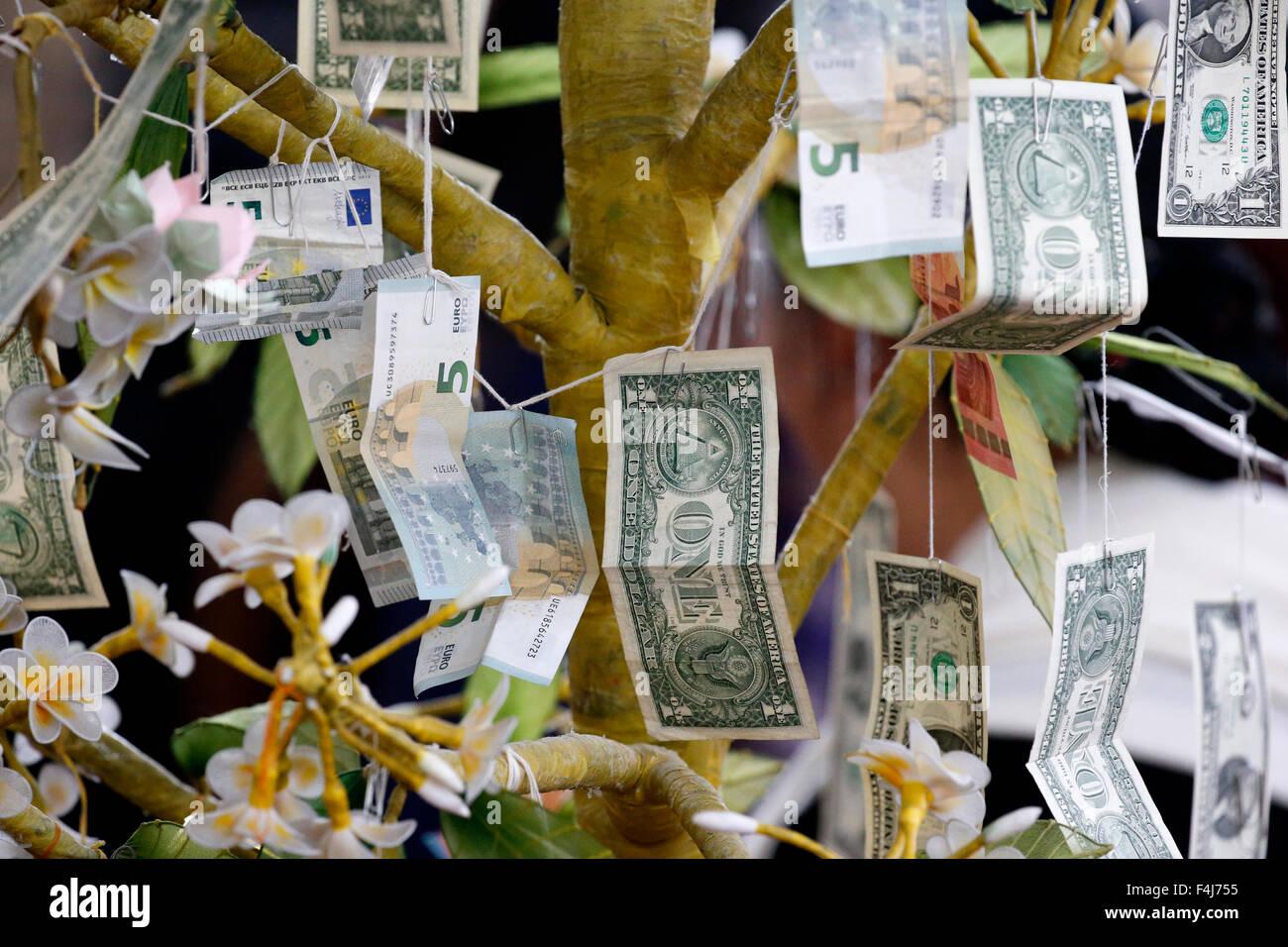 Buddhist money tree to make merit and donate to local temple, Wat Velouvanaram, Bussy Saint Georges, Seine et Marne, - Stock Image