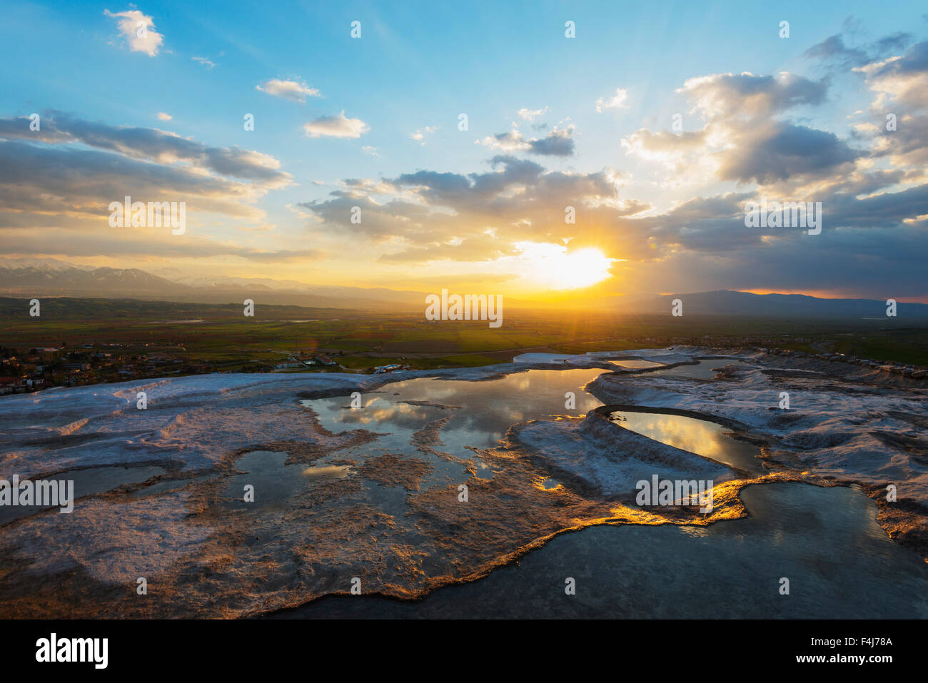 White travertine basins at sunset, Pamukkale, UNESCO World Heritage Site, Anatolia, Turkey, Asia Minor, Eurasia - Stock Image