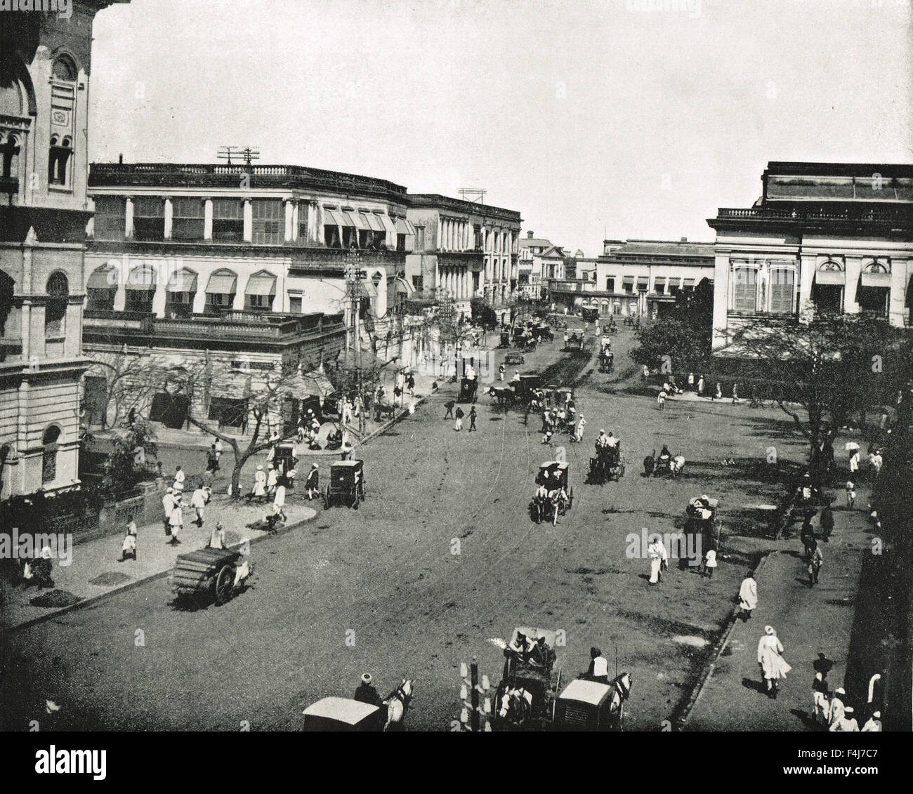Clive Street, Calcutta ( Now Kolkata ), West Bengal, India in 1894 - Stock Image