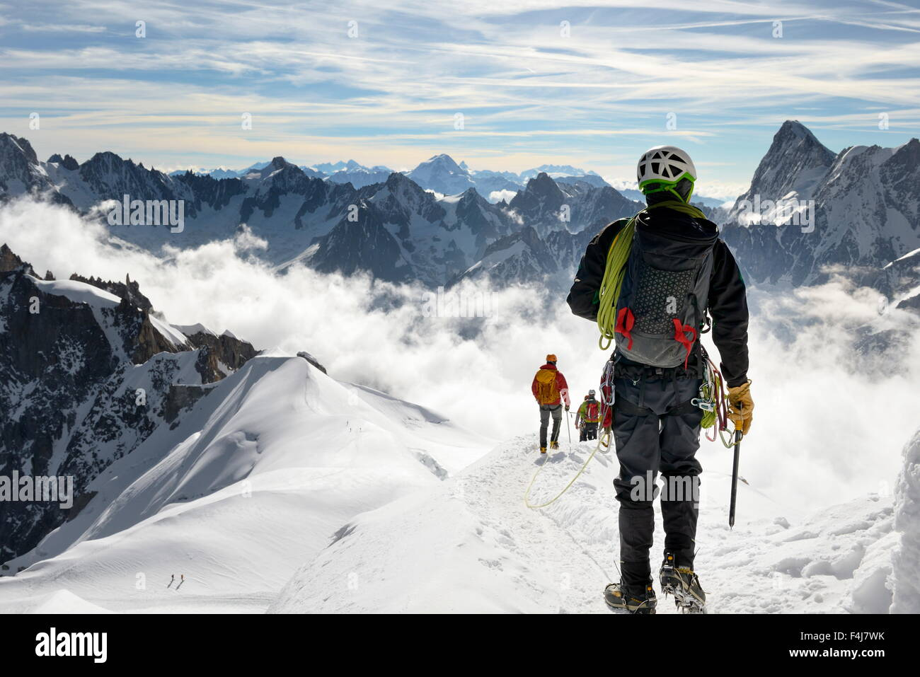 Mountaineers and climbers, Aiguille du Midi, Mont Blanc Massif, Chamonix, French Alps, Haute Savoie, France, Europe - Stock Image