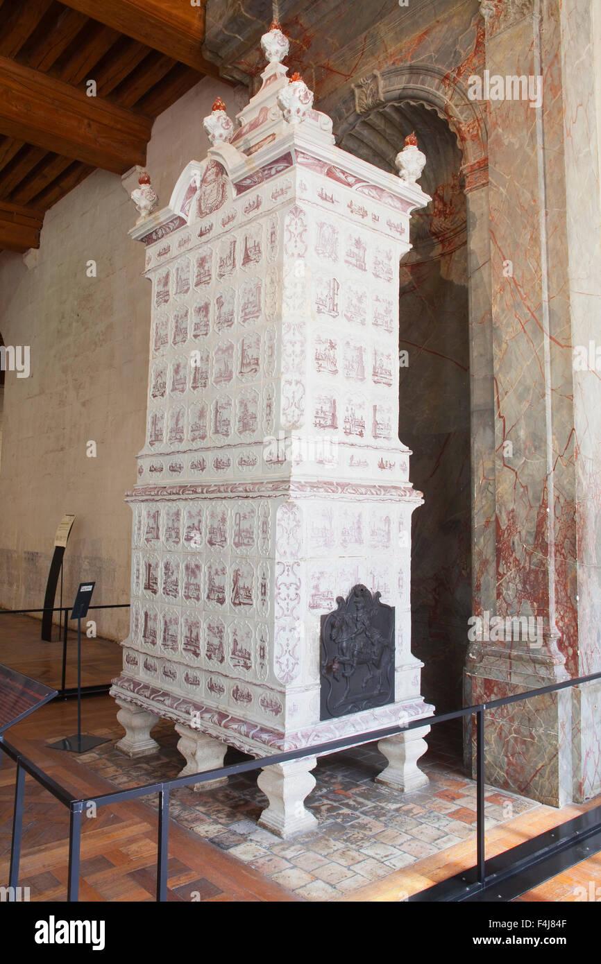A ceramic stove, Chateau de Chambord, Loir-et-Cher, Centre, France - Stock Image
