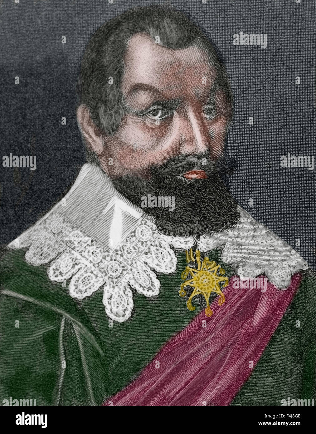 Axel Oxenstierna (1583-1654). Count of Sodermore, was a Swedish statesman. Engraving by E. Hondius. Colored. - Stock Image