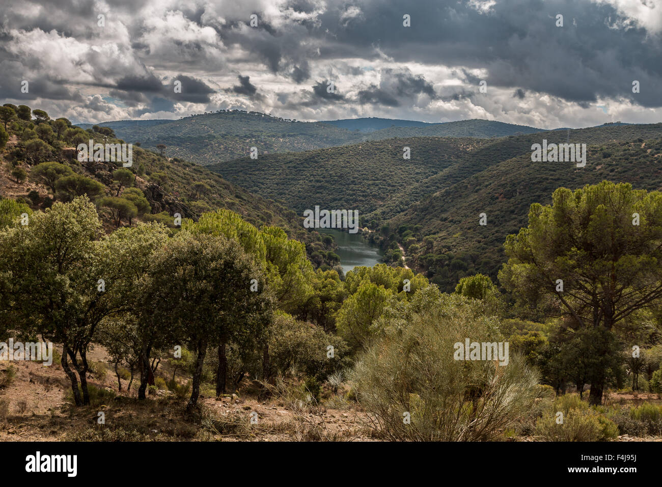 Trekking along Rio Alberche, Spain Stock Photo