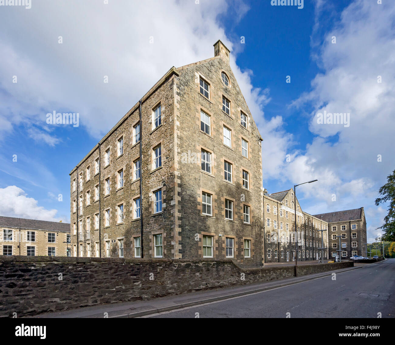 Ettrick & Yarrow Spinners Ltd. old factory In Selkirk Scottish Borders Scotland now Ettrick Riverside Business - Stock Image