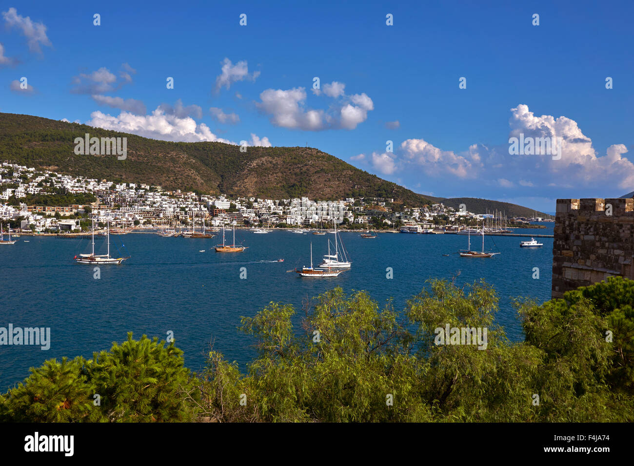 Bodrum East Bay and anchorage at Bodrum town, Mugla Province, Turkey. - Stock Image