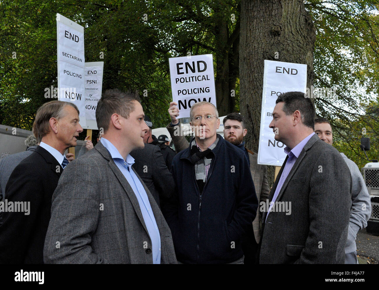 Democratic Unionist Party (DUP) MP for East Londonderry, Gregory Campbell, observing a dissident republican protest - Stock Image