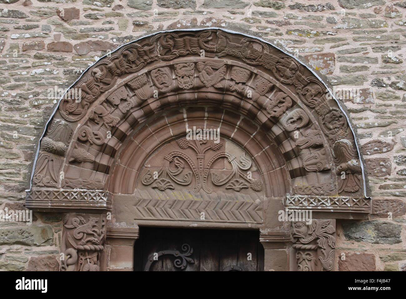 The South Door Tympanum and Arches, Kilpeck Church, Herefordshire, England - Stock Image