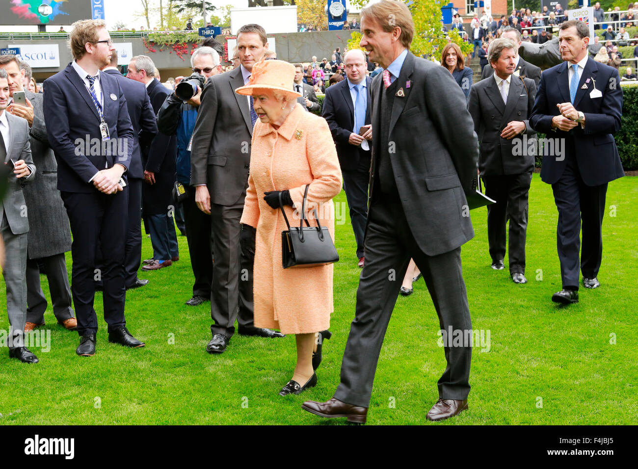 17.10.2015 - Ascot; Queen Elizabeth II and Johnny Weatherby (Duke of Devonshire as The Queen's representative). Stock Photo