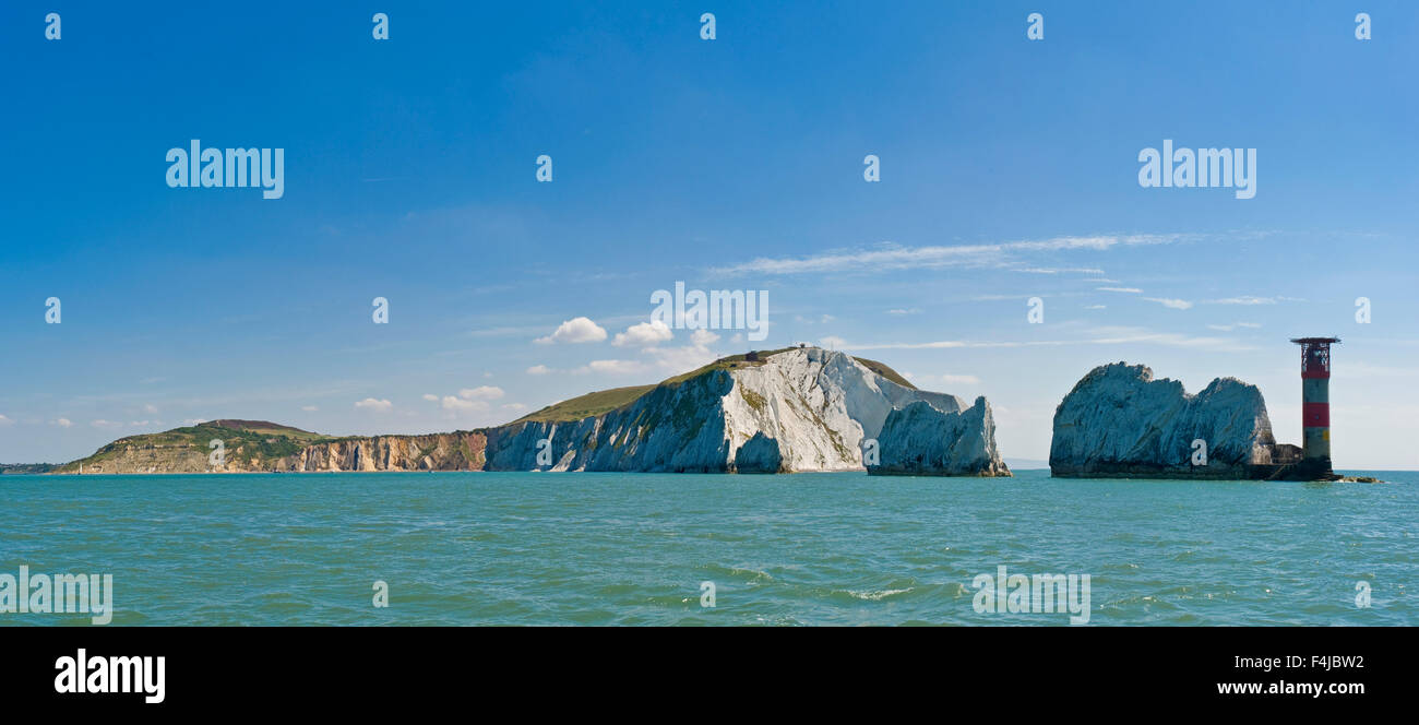 A 2 picture stitch panoramic of The Needles off the western extremity of the Isle of Wight, close to Alum Bay. - Stock Image