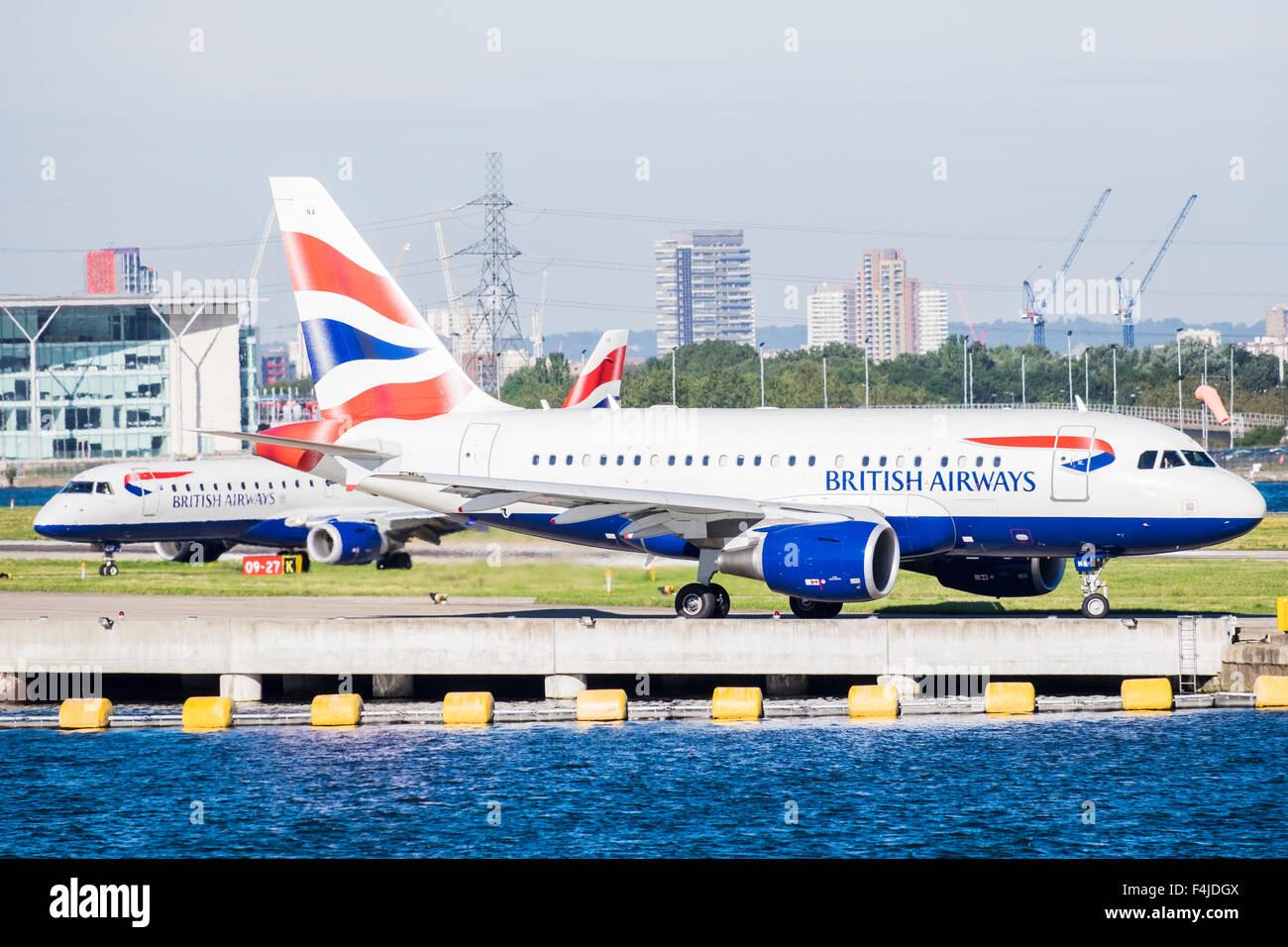 London City Airport aircraft, Docklands, London, England, U.K. - Stock Image