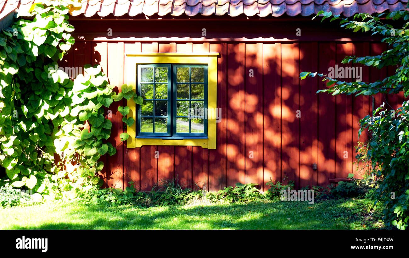 old house and window Skansen open air Museum in Stockholm, Sweden - Stock Image