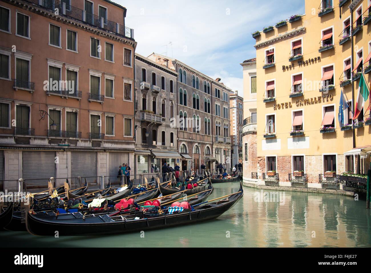 Gondola Sstation Bacino Orseolo in Venice - Stock Image