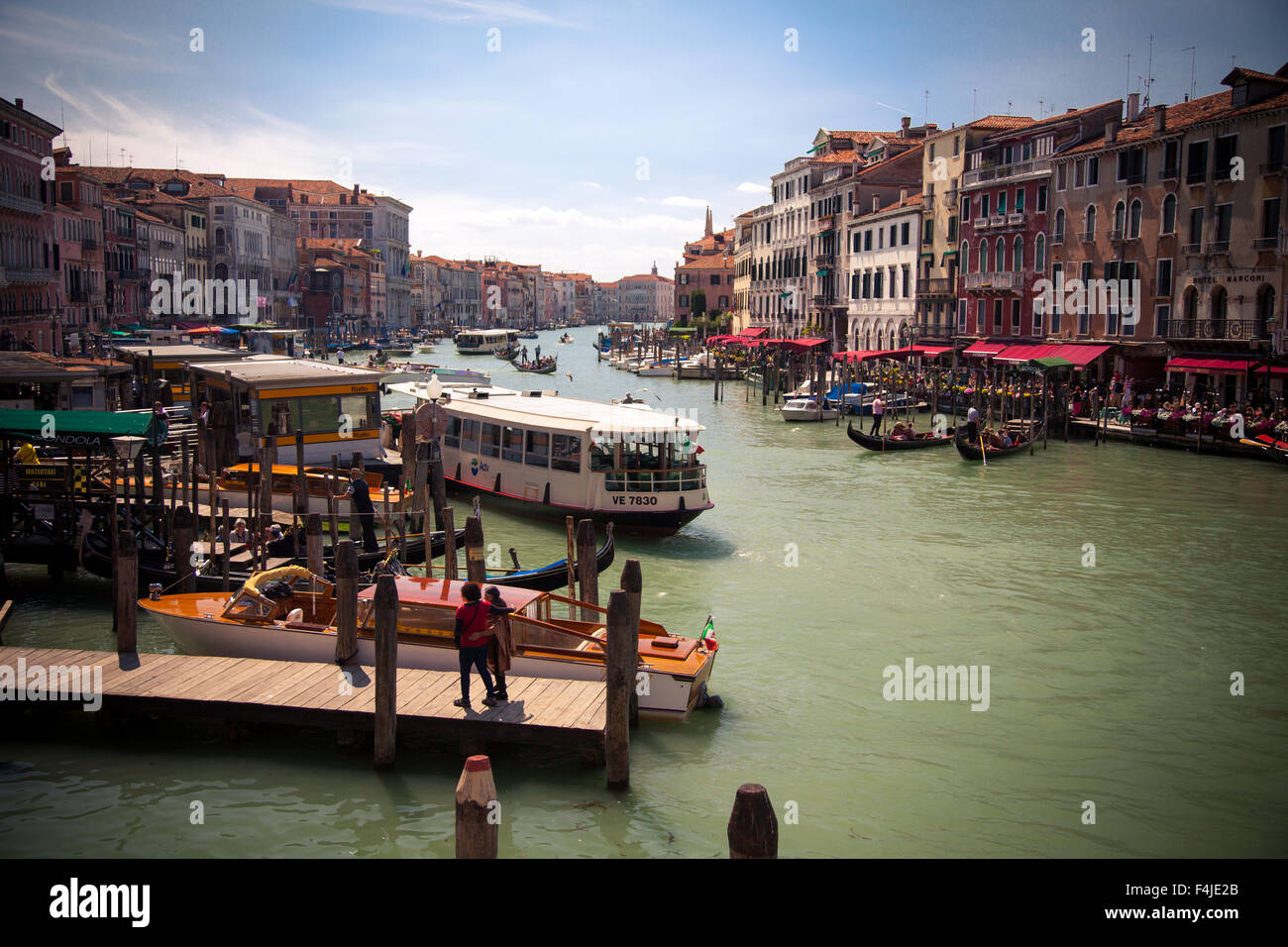 Boats on Canal Grande in Venice Italy - Stock Image