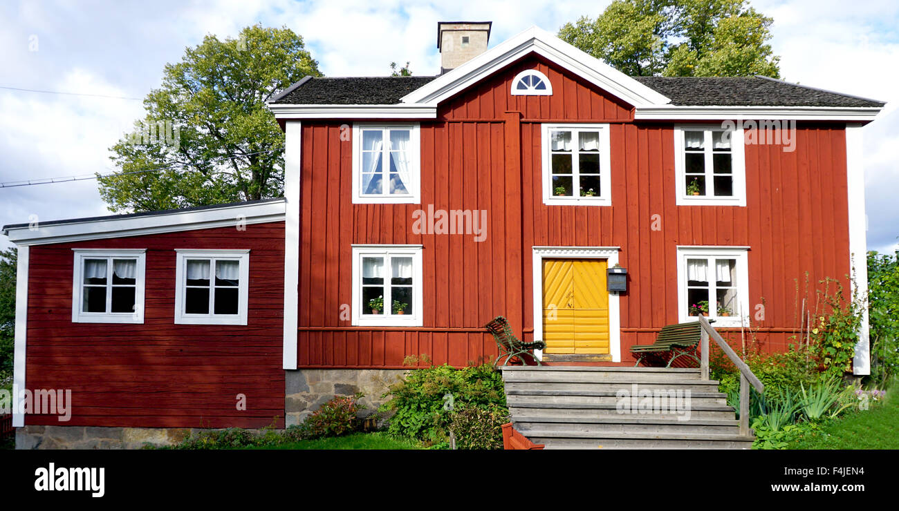 vintage house display in Skansen open air Museum in Stockholm, Sweden - Stock Image