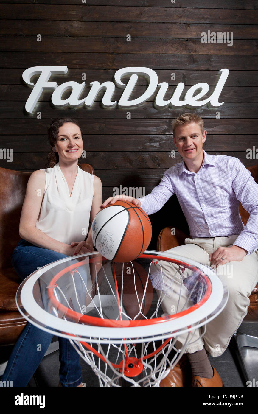 Nigel (right) and Lesley Eccles. Co-founders of online fantasy sports platform, FanDuel. Edinburgh, Scotland. - Stock Image