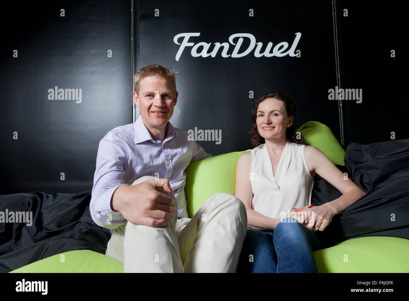Nigel (left) and Lesley Eccles. Co-founders of online fantasy sports platform, FanDuel. Edinburgh, Scotland. - Stock Image