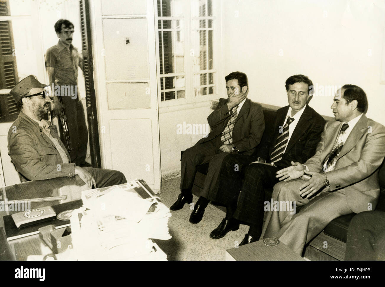 Portrait of Arafat and Lebanese leaders - Stock Image