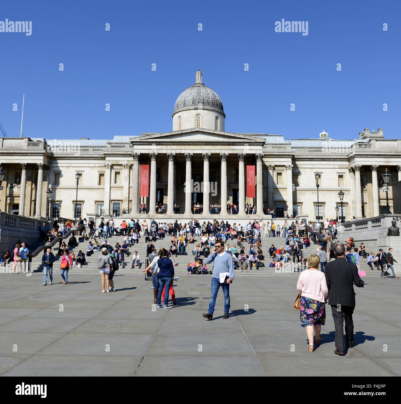 The National Gallery art museum, Trafalgar Square, City of Westminster, Central London - Stock Image