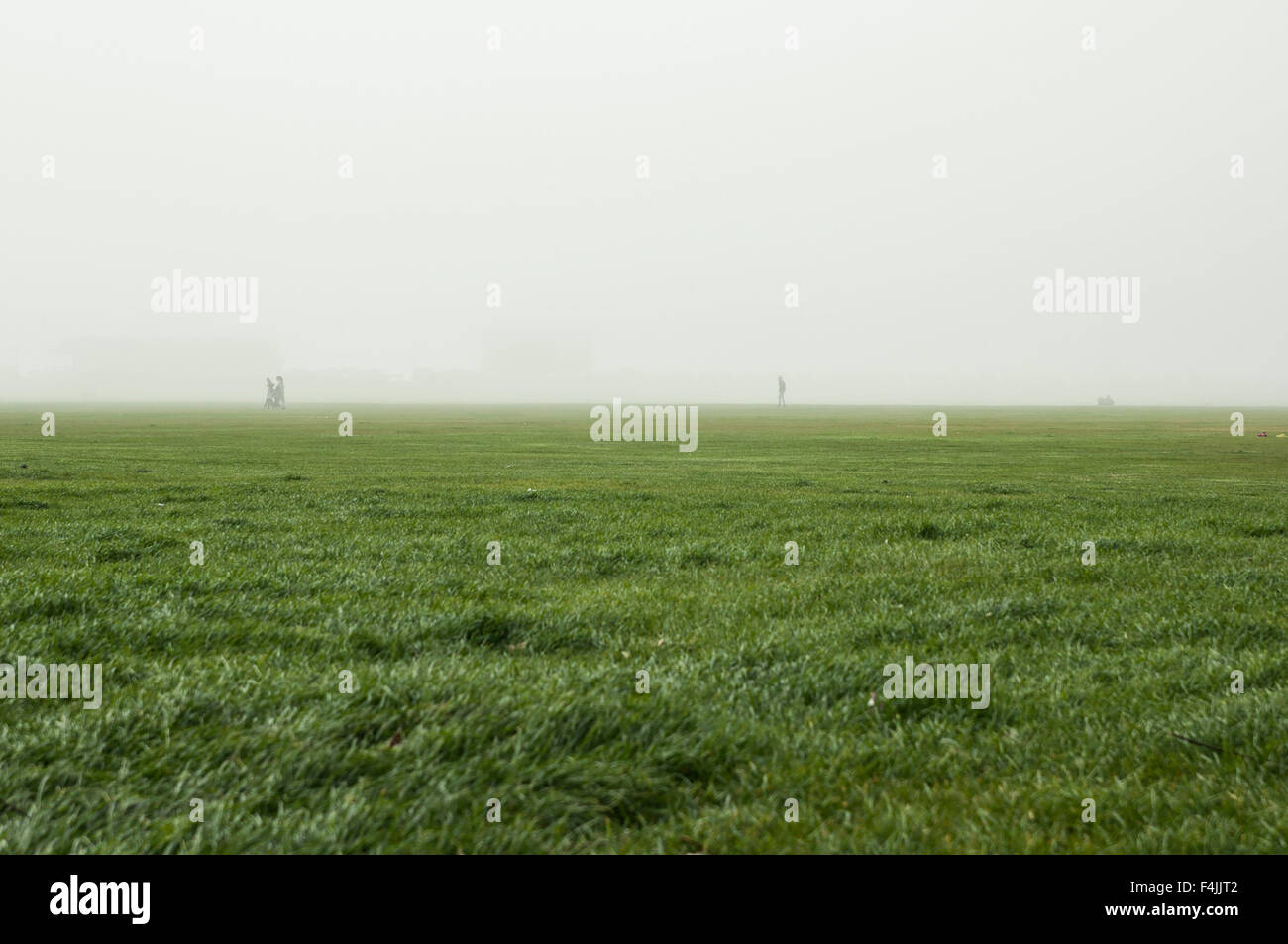 Southsea seafront  on a cloudy and foggy day with people Stock Photo
