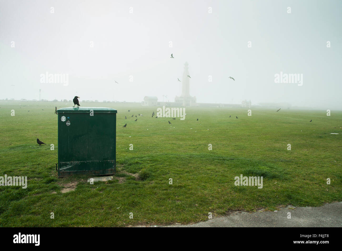 Southsea seafront  on a cloudy and foggy day with crows. Stock Photo
