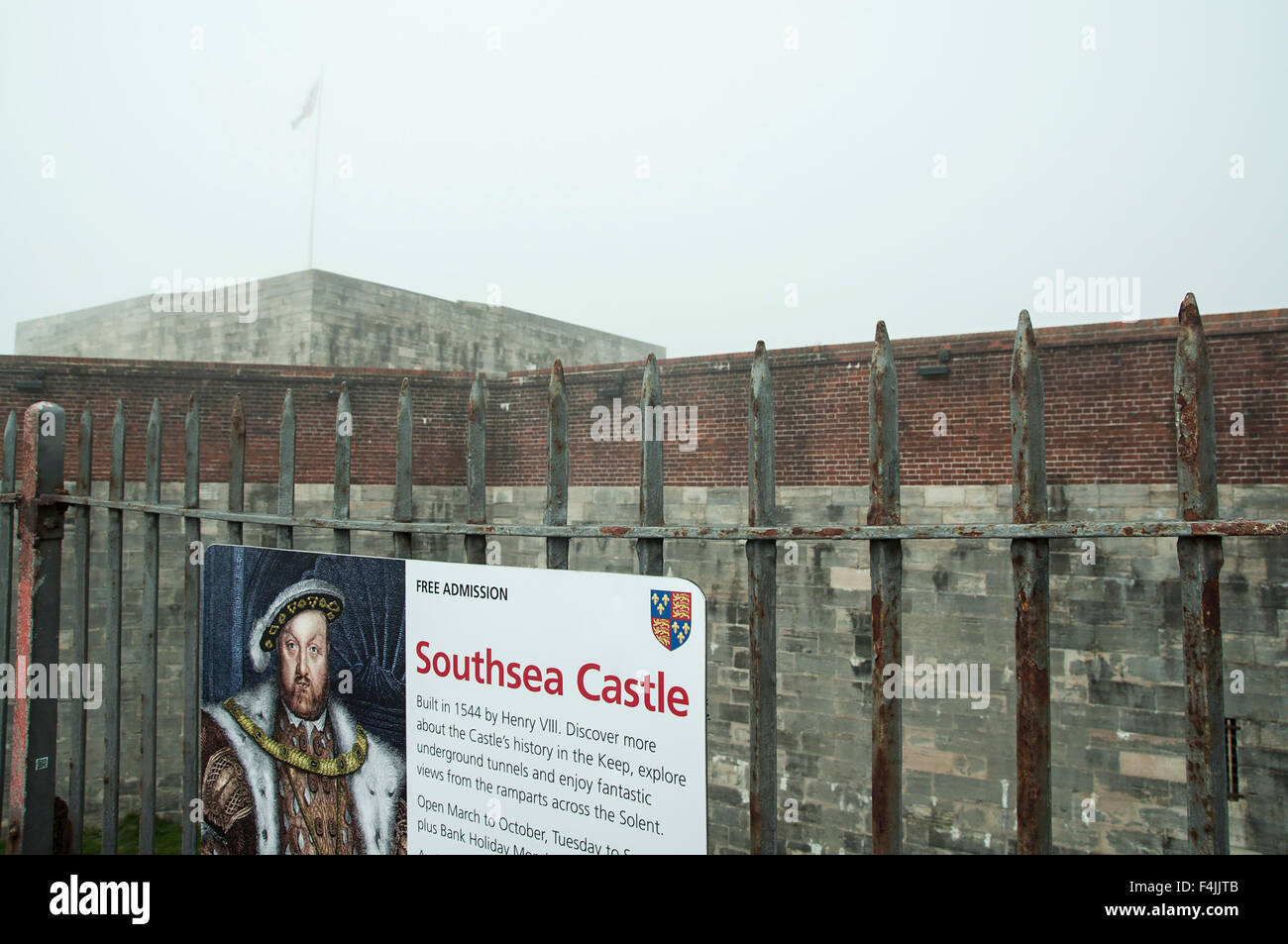 Cloudy and foggy day in Southsea Castle Portsmouth - Stock Image