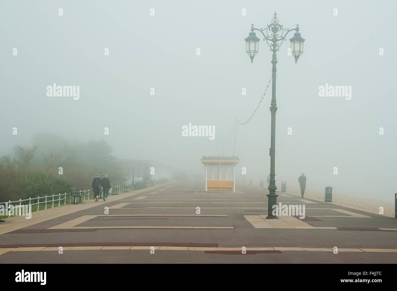 Southsea seafront  on a cloudy and foggy day. Stock Photo