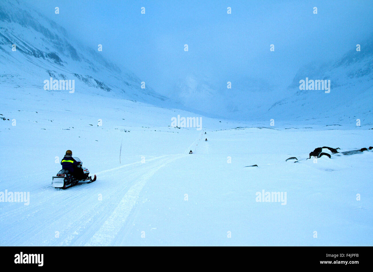 Sweden, Kungsleden, Man on snowmobile - Stock Image