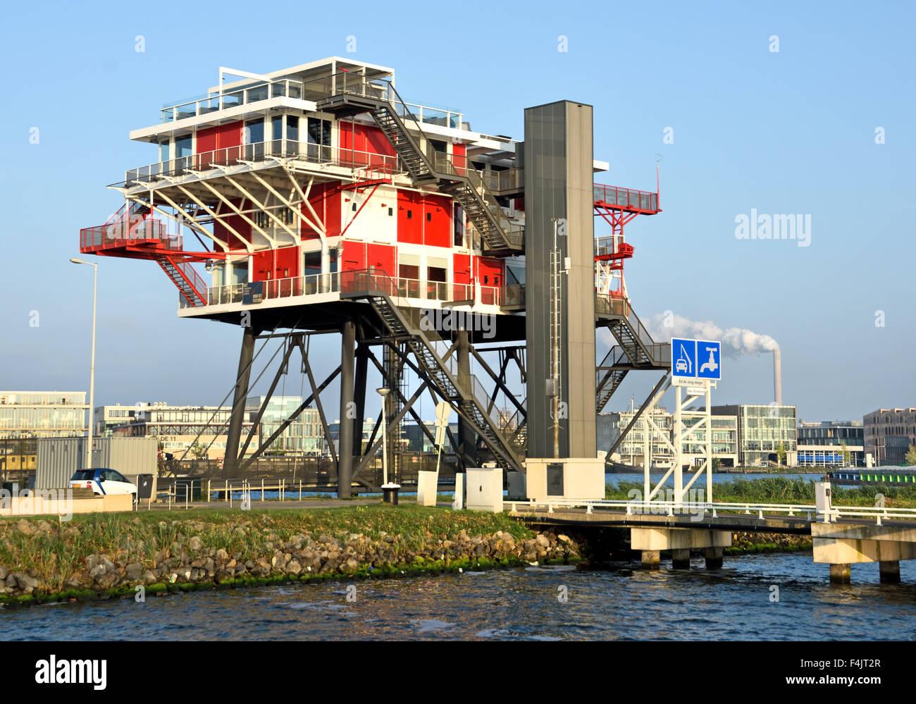 REM Eiland - 2011 Restaurant on the IJ Port Amsterdam Netherlands ( REM Island built in the Republic of Ireland - Stock Image
