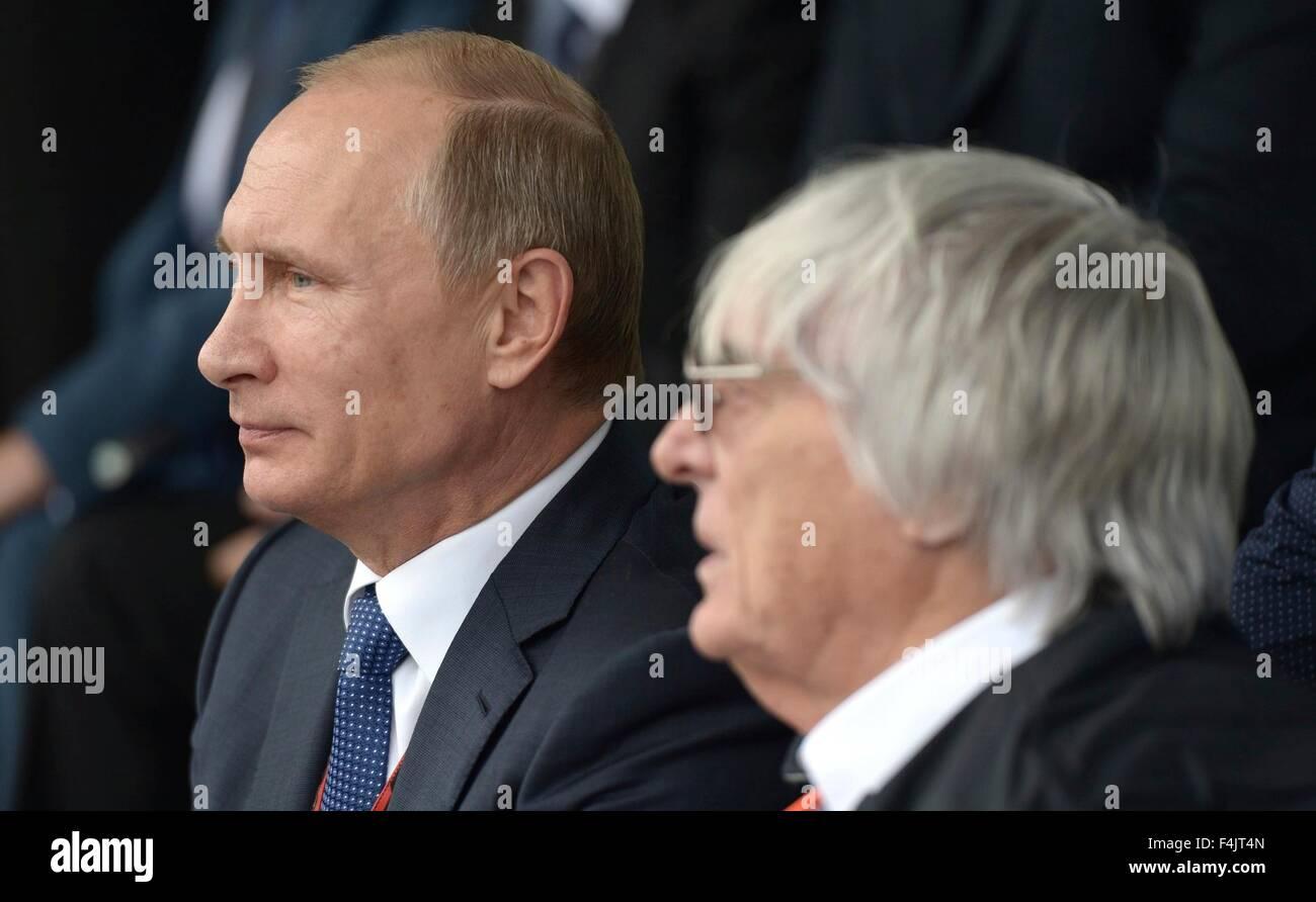 Russian President Vladimir Putin Sits With Promoter Bernie Ecclestone Stock Photo Alamy
