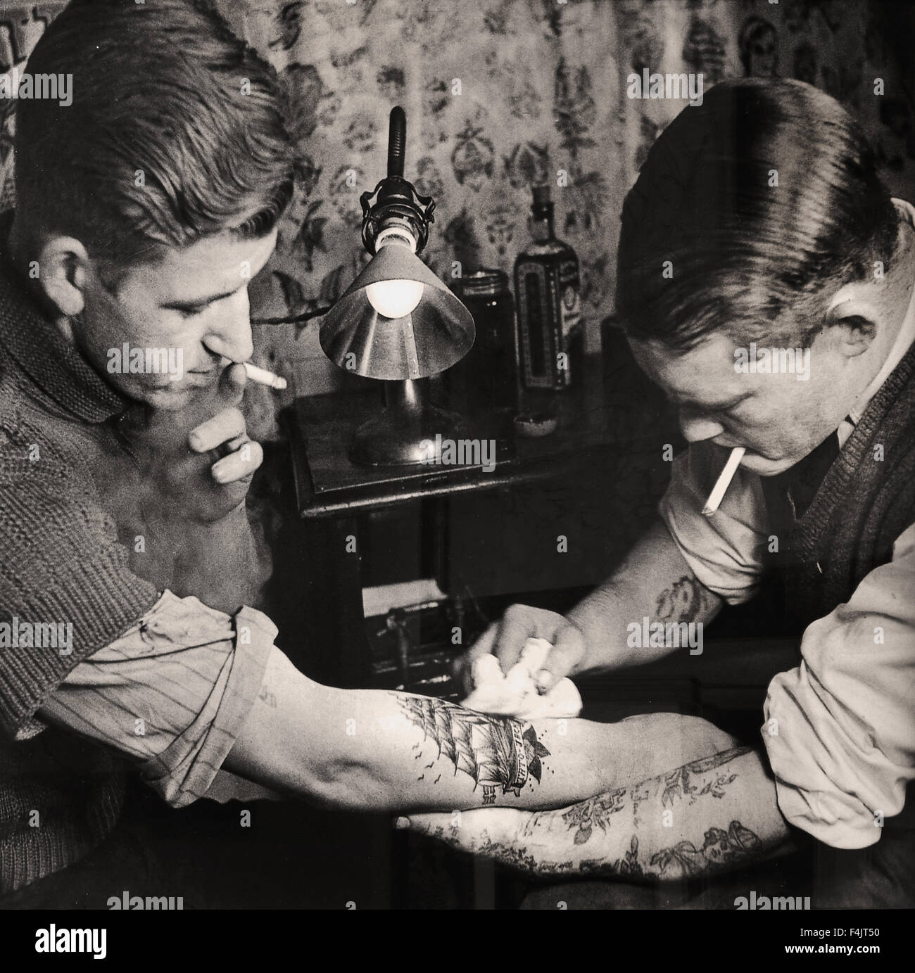 Sailor In A Tattoo Shop In The Year 1950 Amsterdam