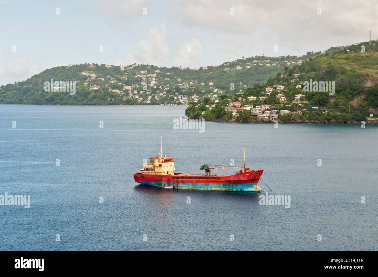 General cargo ship 'Anina' built 1970 in the Bay of St. George's, Grenada - Stock Image