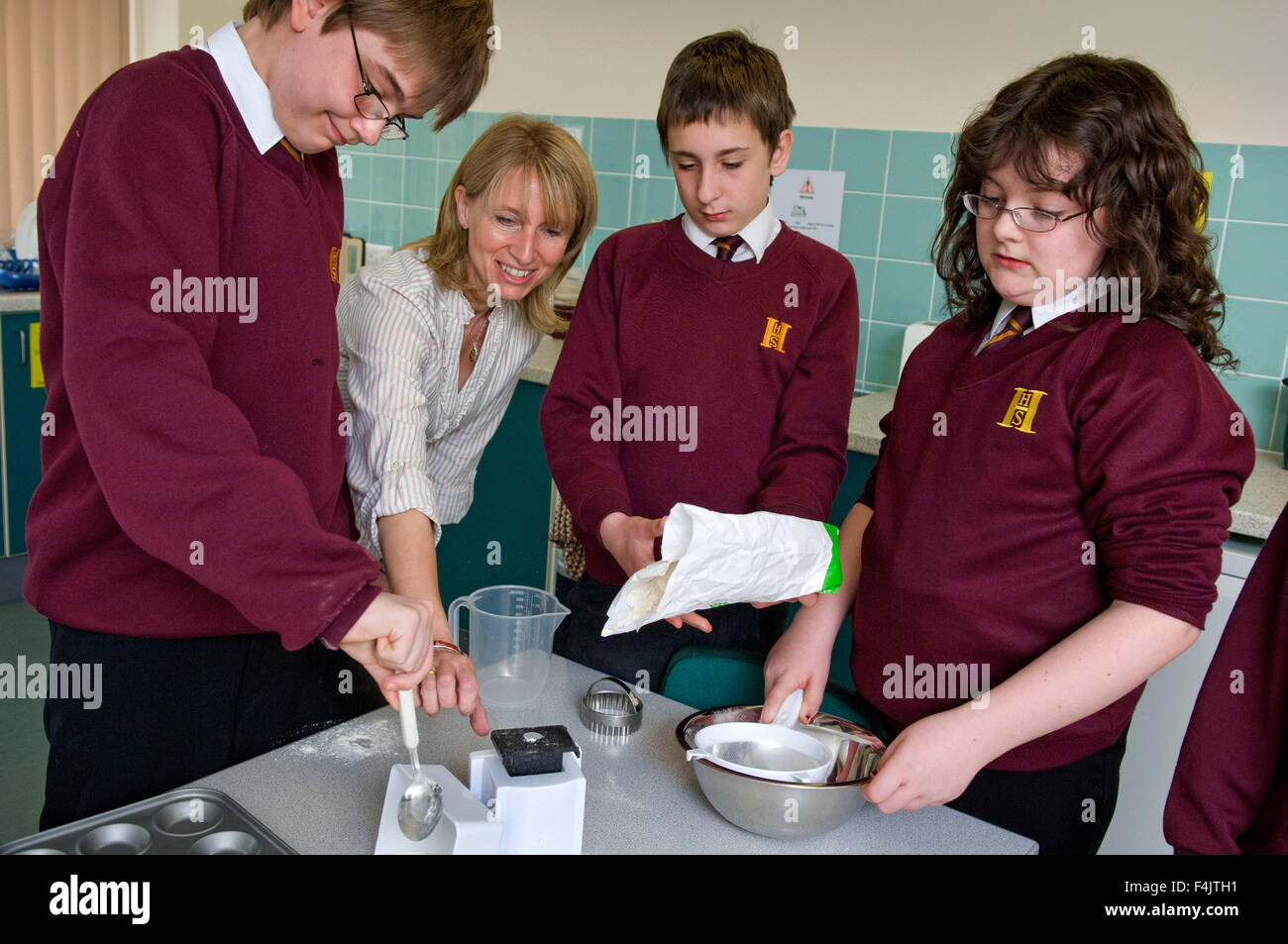 Hanham High School,Bristol,UK with The Resource Base coordinator Annette Box with her autistic pupils. Stock Photo
