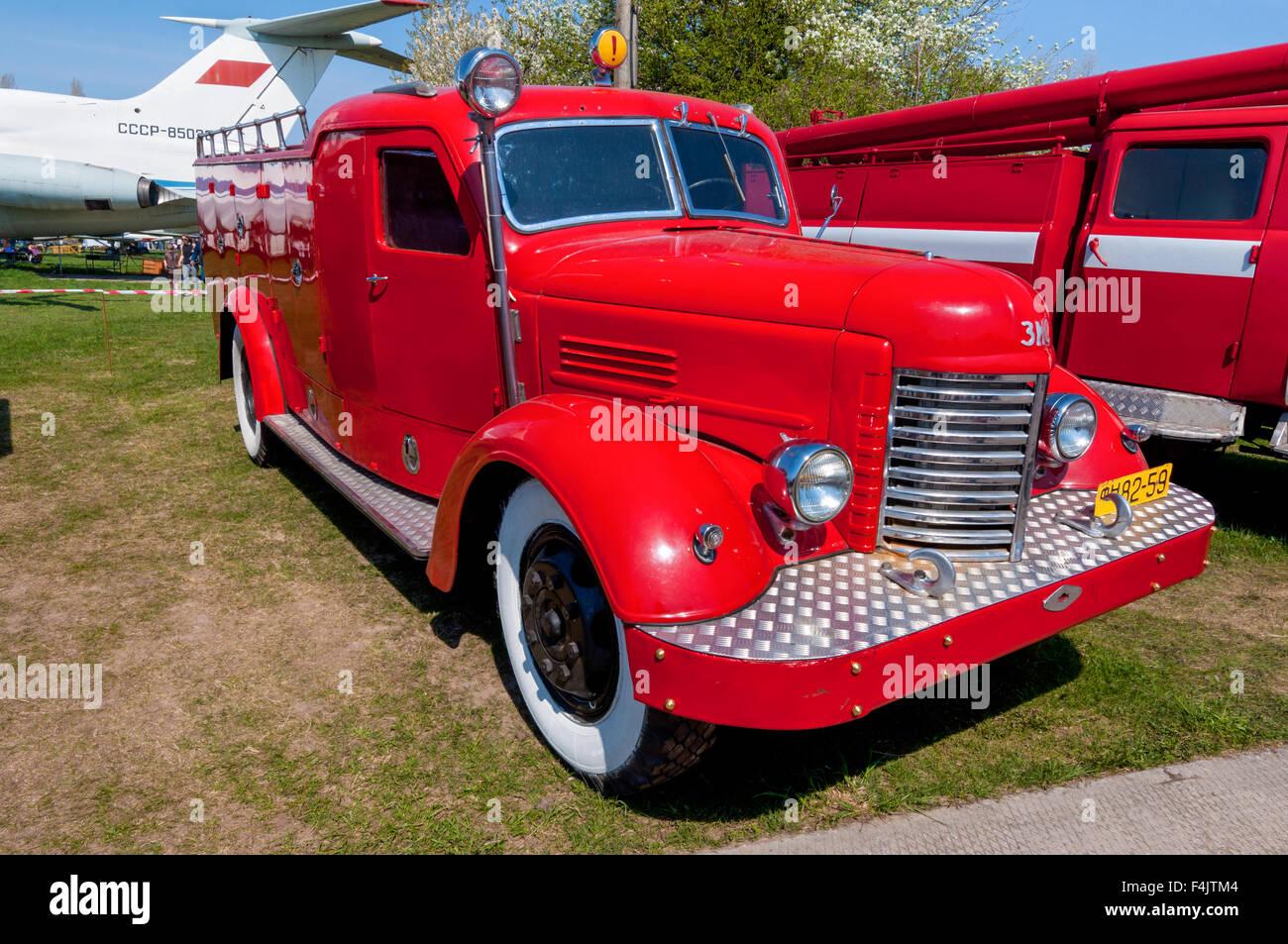 "The festival ""Old Car Fest 2015"", showed an fire truck ZIS-150 vintage model Stock Photo"