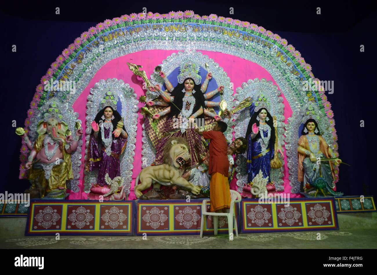 Oct. 19, 2015 - A bangali priest performing ''Shashtra Pujan'' Ritual during Navaratri Festival - Stock Image