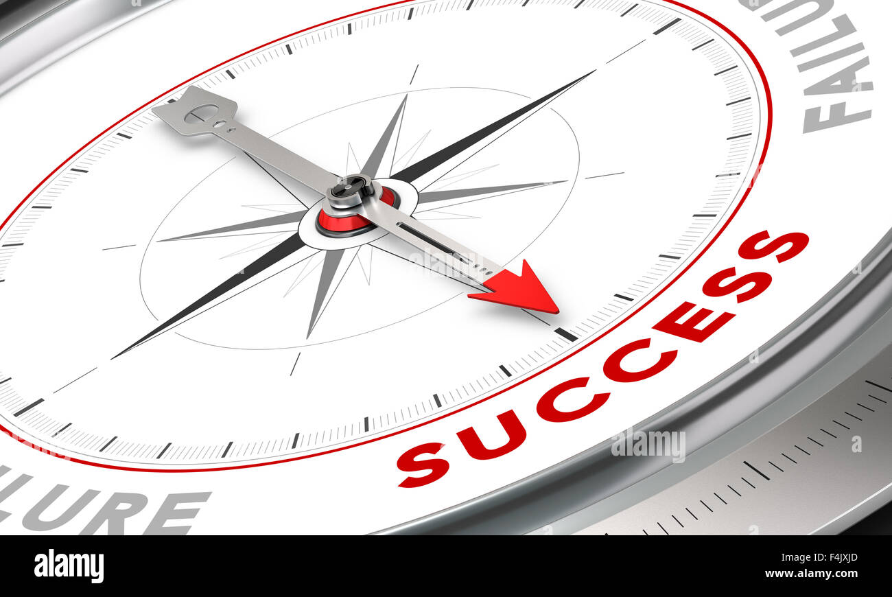 Compass with needle pointing the word success. Conceptual illustration for motivation purpose. Business concept - Stock Image
