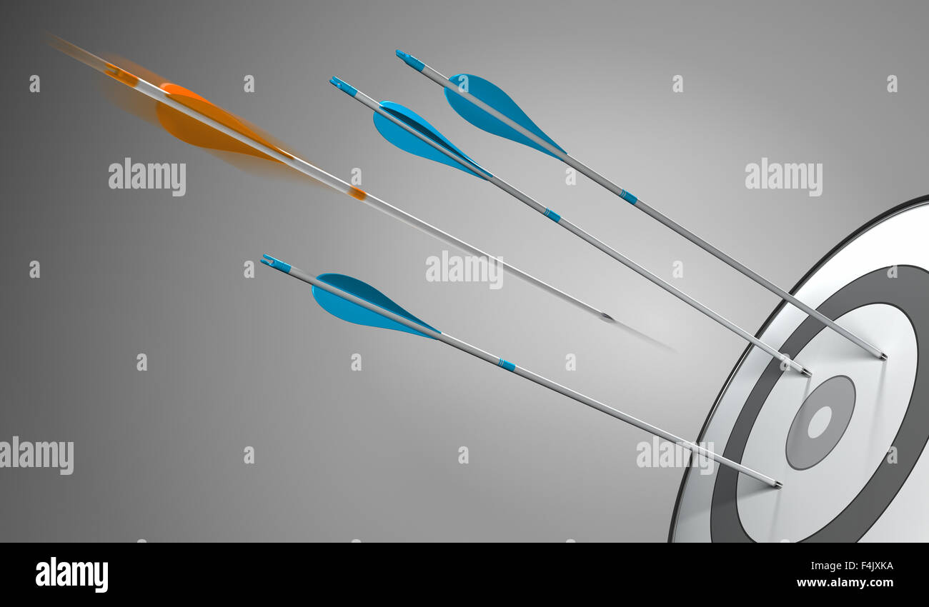 Three blue arrows hitting a target plus an orange arrow hitting the center, 3D concept illustration of competitive Stock Photo