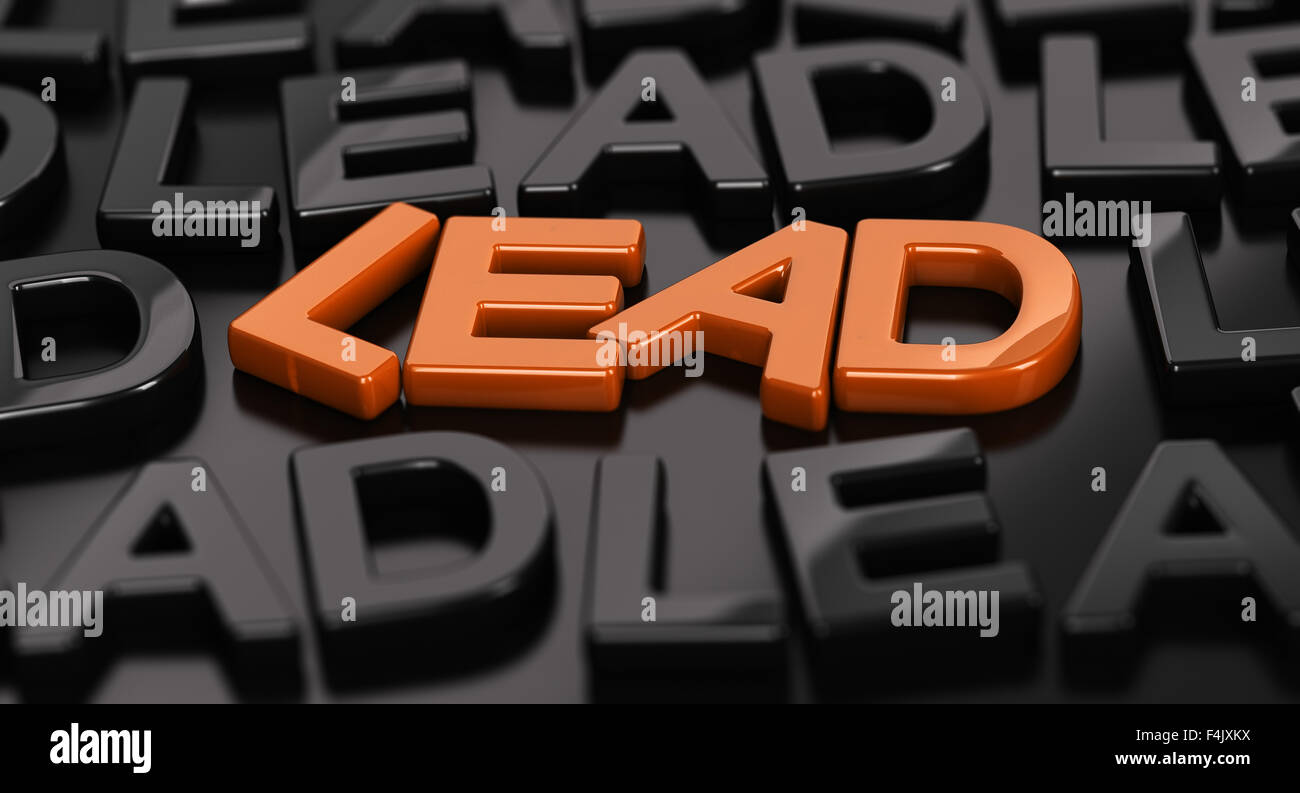 focus on the orange word lead with many black words around over
