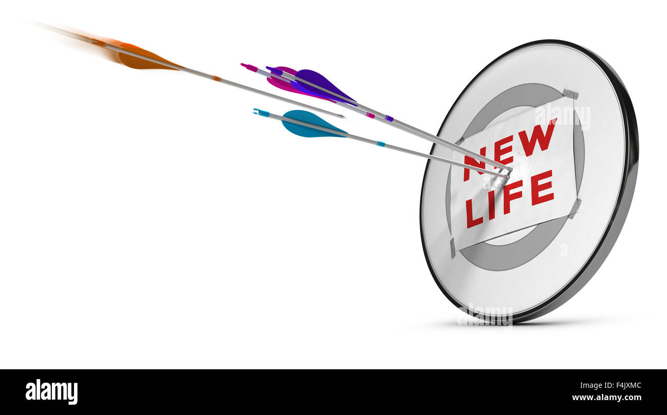 One target with three colorful arrows hitting the text new life. Concept image for illustration of successfuly start - Stock Image