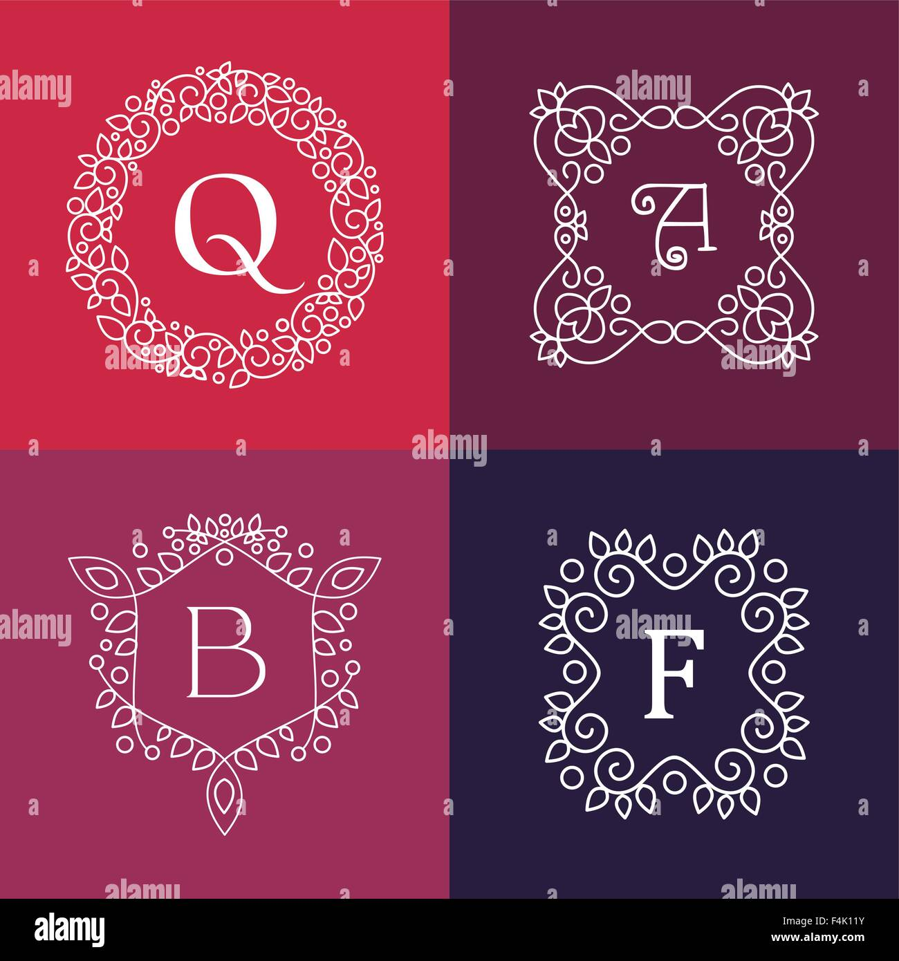 7dd000f5ff89 Ornament monogram style mono line floral letter frame set. EPS10 vector. -  Stock Image