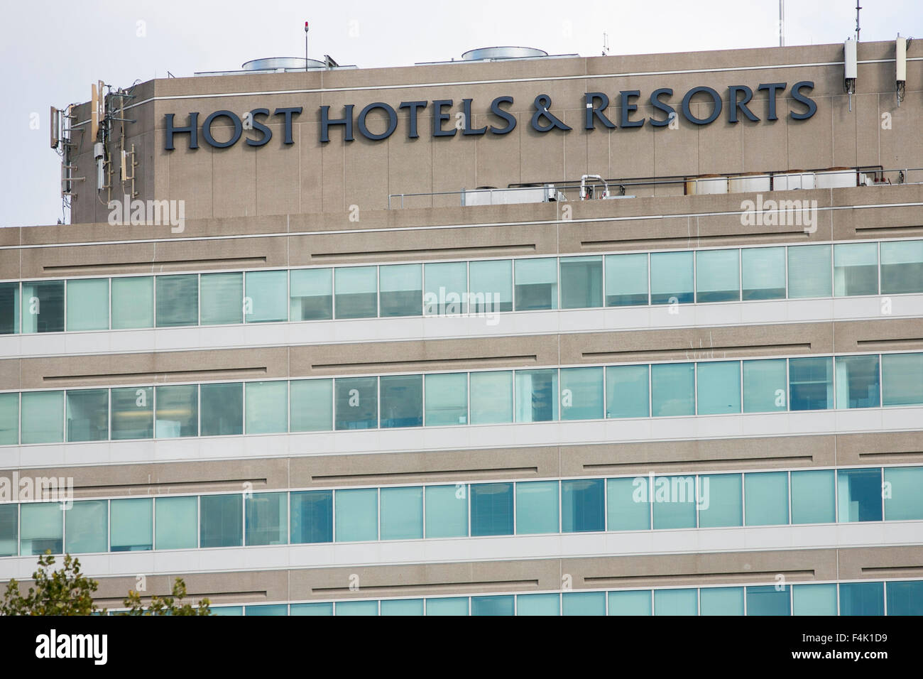 A logo sign outside of the headquarters of Host Hotels & Resorts in Bethesda, Maryland on October 18, 2015. - Stock Image