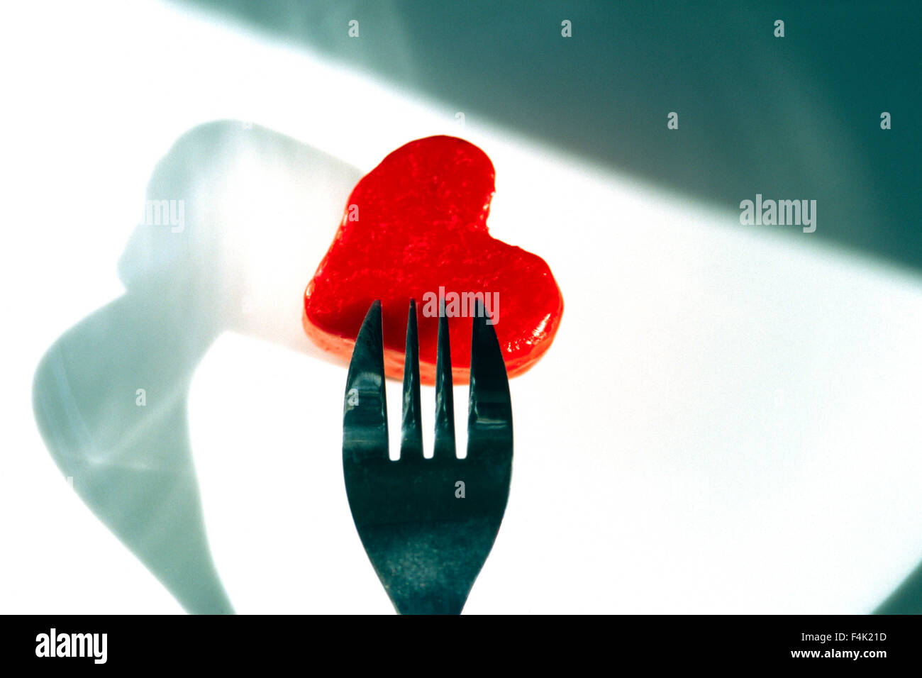 Fork Carving Heart Shape - Stock Image