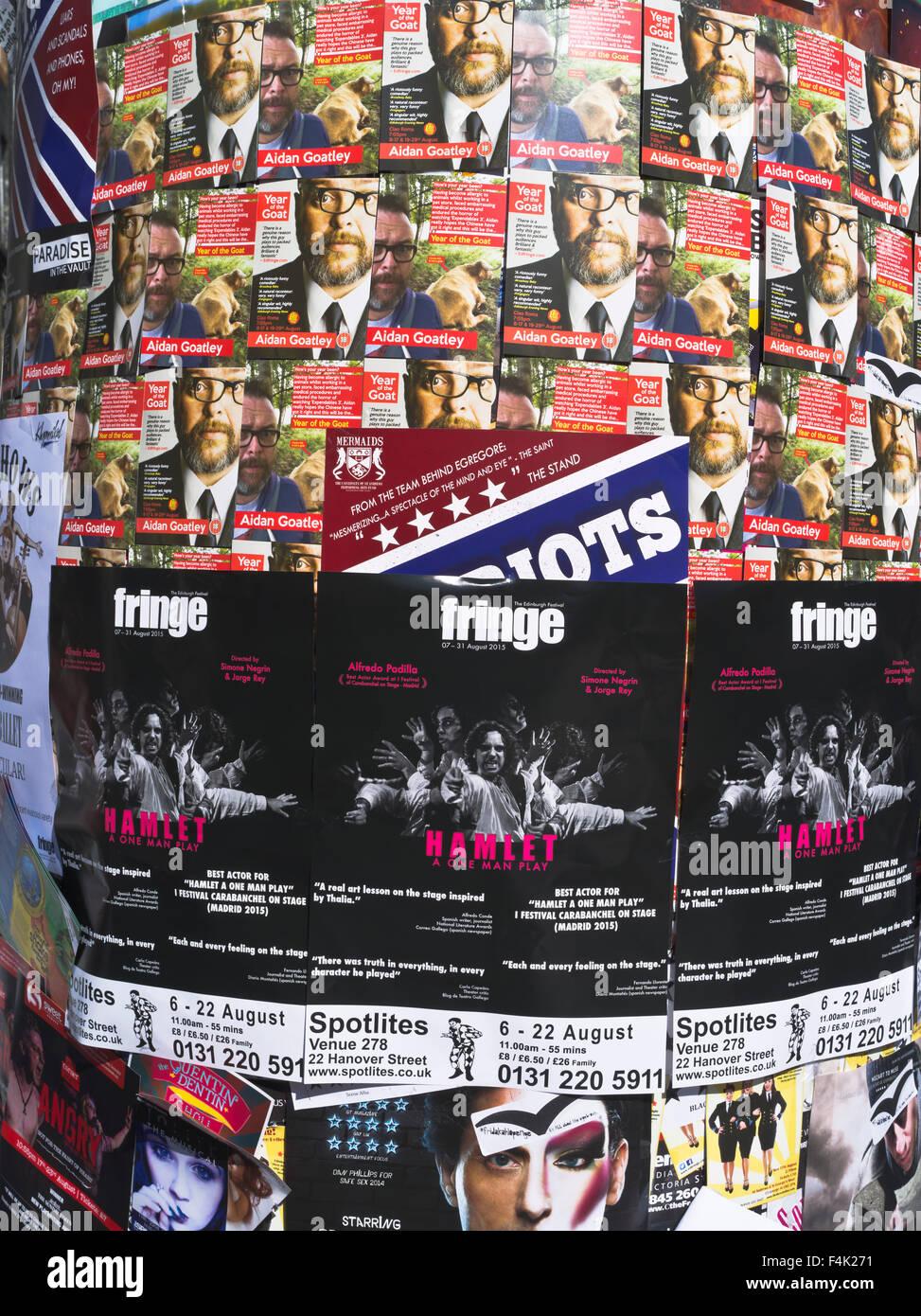 dh  FRINGE FESTIVAL EDINBURGH Fringe festival advertising posters billboard poster sign - Stock Image