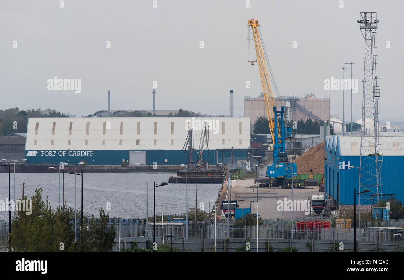 The ABP (Association of British Ports) Port of Cardiff at Cardiff Bay, South Wales. - Stock Image