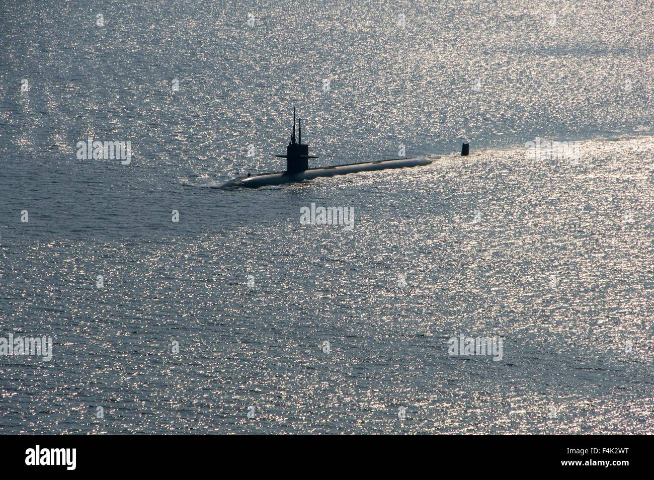 US Navy The Los Angeles-class attack submarine USS City of Corpus Christi during Exercise Malabar October 16, 2015 - Stock Image