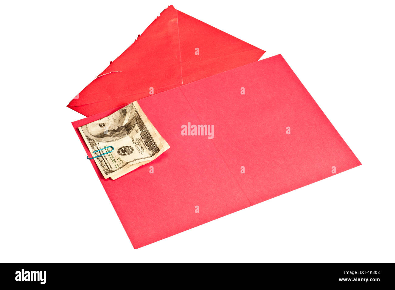 Crumpled Hundred Dollar Bill Inside Blank Red Greeting Card - Stock Image
