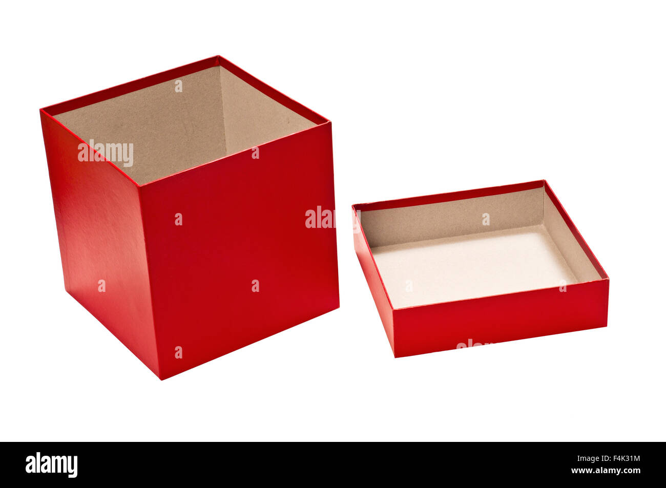 Open Red Empty Gift Box With Lid - Stock Image